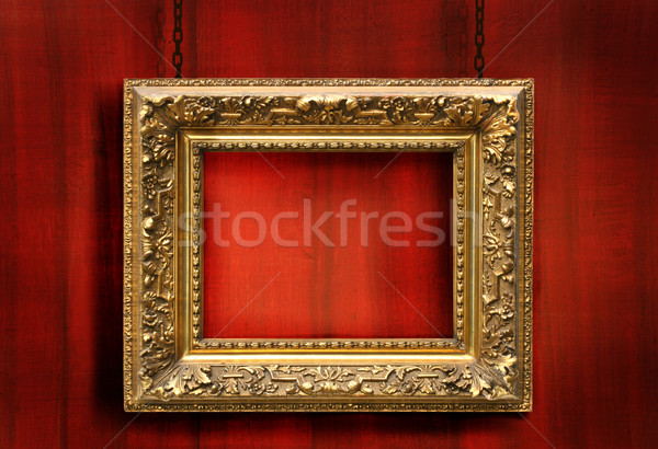 Red wood background with antique frame Stock photo © Sandralise