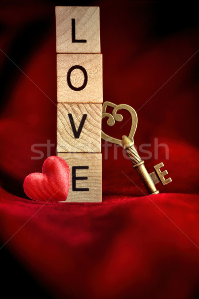 Gold key with wooden block letters that spell the word love Stock photo © Sandralise
