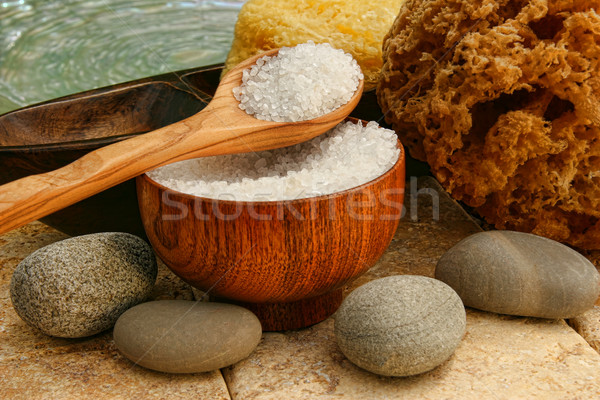 Bath salts with river rocks and sponges Stock photo © Sandralise
