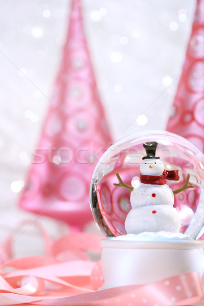 Stock photo: Snow globe with pink  trees