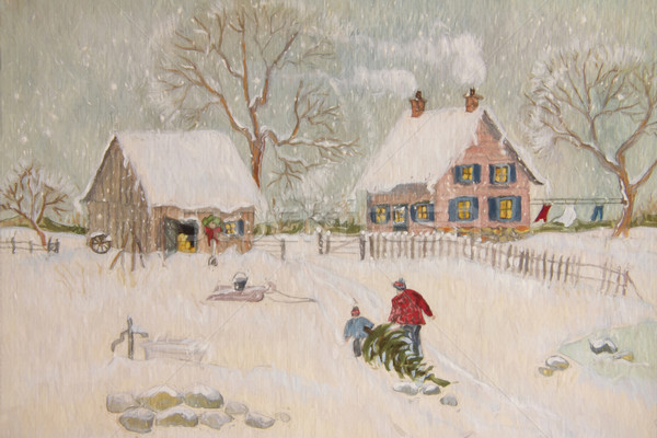 Winter scene of a farm with people, digitally altered Stock photo © Sandralise