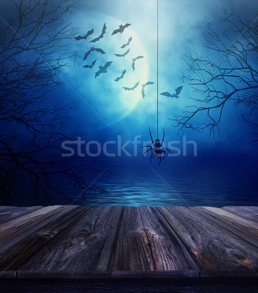Wooden floor with spider and Halloween background Stock photo © Sandralise