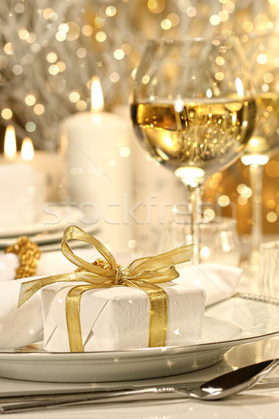 Gold ribbon gift with gold background Stock photo © Sandralise
