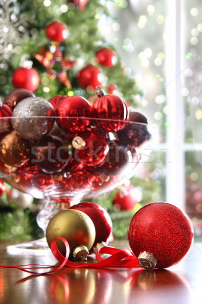 Red Christmas balls on table Stock photo © Sandralise