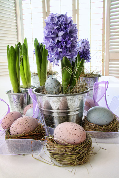 Purple hyacinths and easter eggs on table  Stock photo © Sandralise