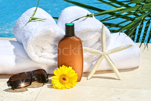 Foto stock: Blanco · spa · toallas · piscina · loción