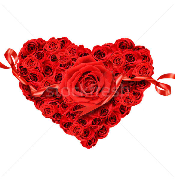 Roses rouges forme coeur blanche amour cadeau Photo stock © Sandralise