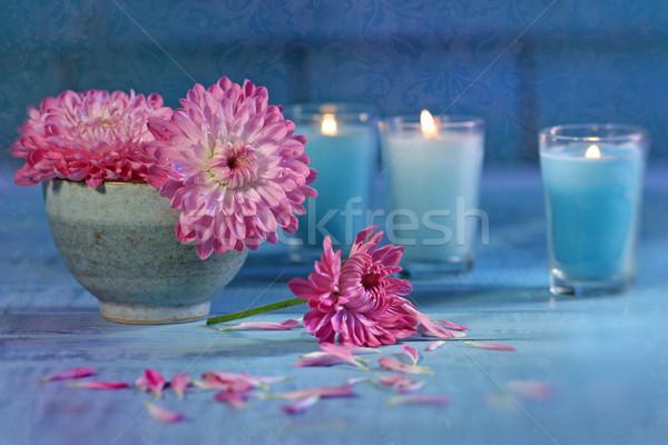 Foto stock: Crisantemo · flores · velas · tazón · agua · flor