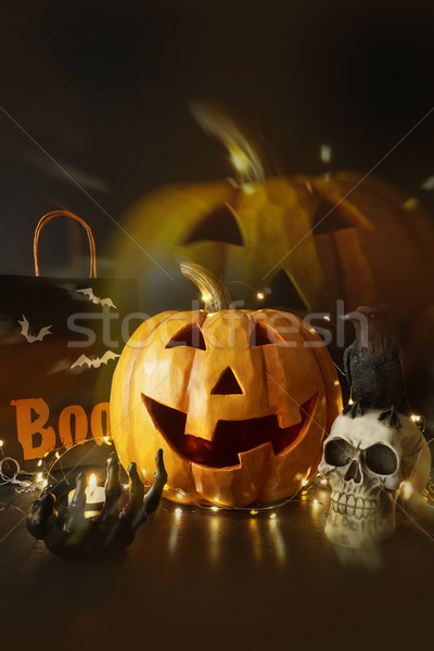 Large wooden pumpkin with lights and candle                    Stock photo © Sandralise