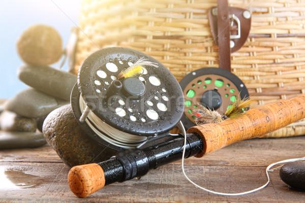 Volée canne à pêche panier ciel bleu poissons Photo stock © Sandralise