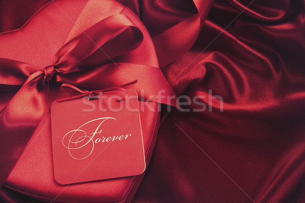 Chocolate box with gift card on satin background Stock photo © Sandralise