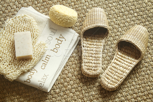 Spa setting with slippers, towel and soap Stock photo © Sandralise