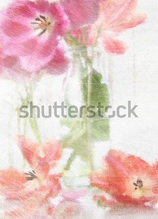 Digitally rendered painting of spring tulips  Stock photo © Sandralise