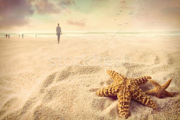 Starfish песок пляж женщину пространстве оболочки Сток-фото © Sandralise