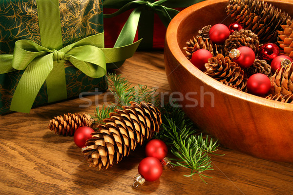 Stock photo: Pine cones,christmas balls and gifts