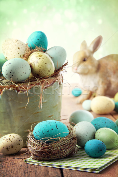 Easter scene with speckled eggs in bowl Stock photo © Sandralise
