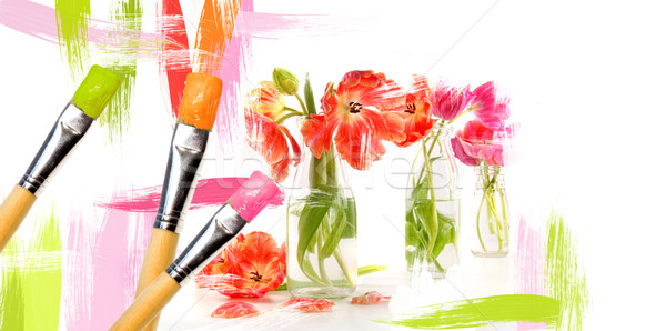 Paint brushes painting  tulips in bottles Stock photo © Sandralise