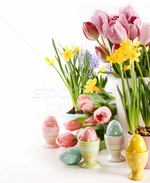 Foto stock: Ovos · de · páscoa · flores · da · primavera · branco · feliz · ovo · tempo