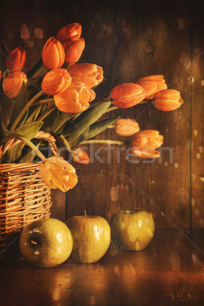 Spring tulips and with vintage feeling Stock photo © Sandralise