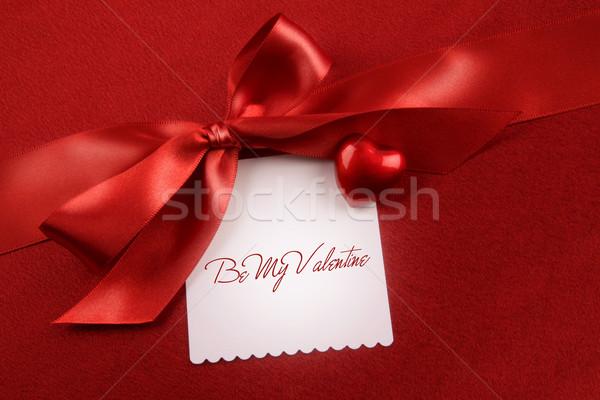 Szatén íj fehér kártya ajándék piros Stock fotó © Sandralise