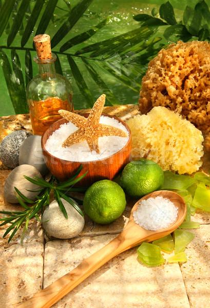 Sea salt, sponges, limes and spa essentials  Stock photo © Sandralise
