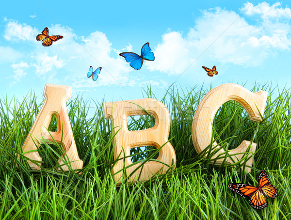 ABC letters in the grass with butterflies Stock photo © Sandralise