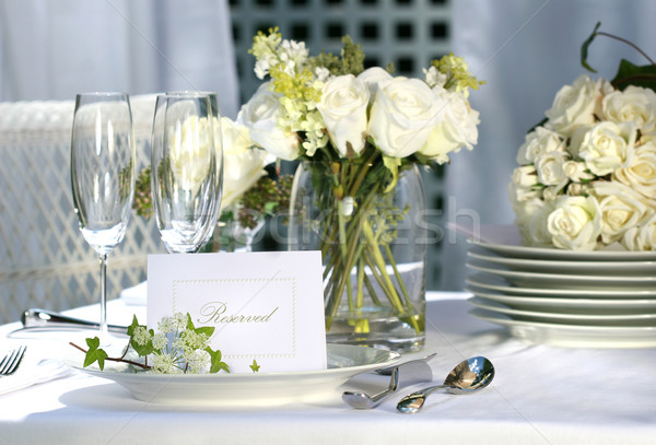 White place card on outdoor wedding table Stock photo © Sandralise