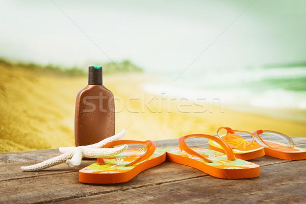 Prendere il sole accessori legno spiaggia sole Foto d'archivio © Sandralise