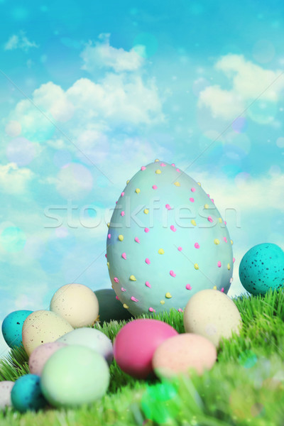 Colorful easter eggs in grass Stock photo © Sandralise