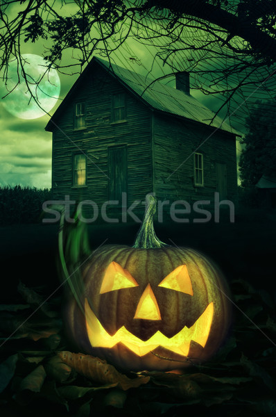Halloween pumpkin in front of a Spooky house Stock photo © Sandralise
