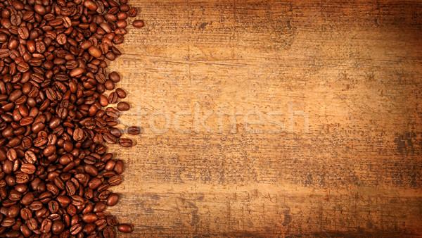 Foto d'archivio: Chicchi · di · caffè · rustico · legno · carta · caffè