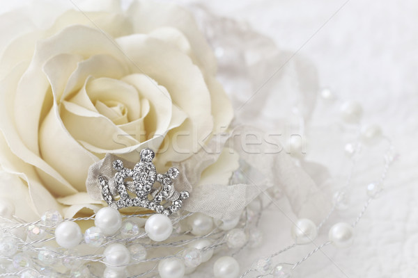 Cream color rose with jewelled crown Stock photo © Sandralise
