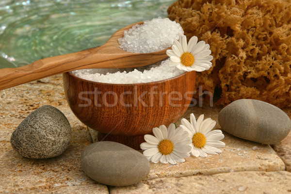 Spa still life with bath salts and daisies Stock photo © Sandralise