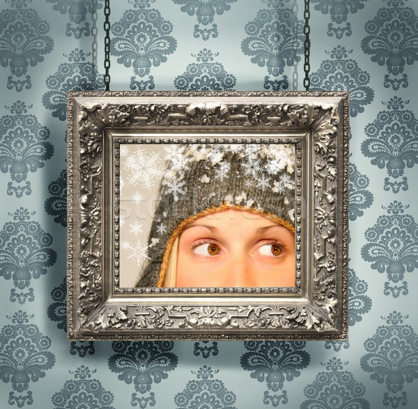 Silver picture frame hung against floral wallpaper  Stock photo © Sandralise