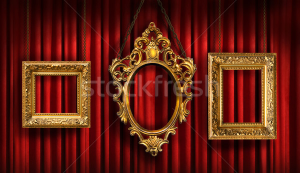 Red drapes with three gold frames Stock photo © Sandralise