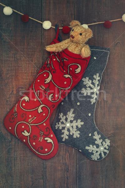 Сток-фото: небольшой · мишка · чулок · Рождества · древесины · ретро