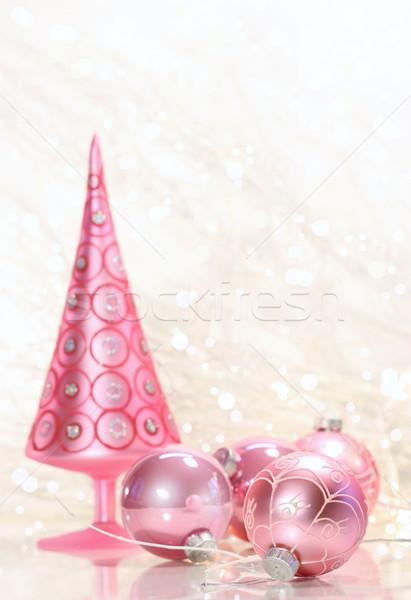 Stockfoto: Roze · vakantie · boom · glas · sneeuw