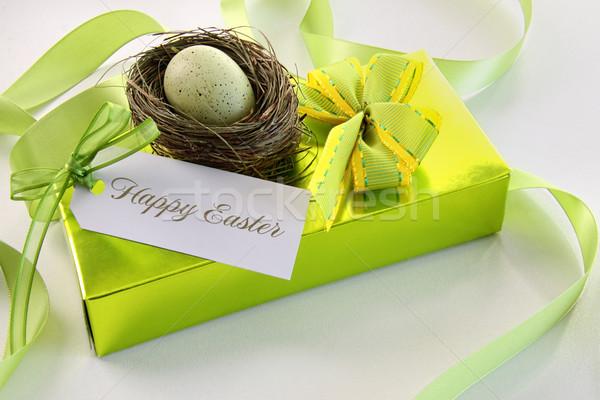 Geschenkkarte Ei Nest Ostern wenig Essen Stock foto © Sandralise