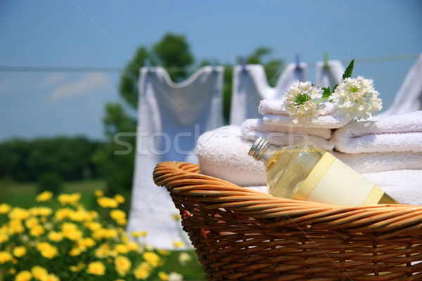 Clean towels freshly folded in wicker basket  Stock photo © Sandralise
