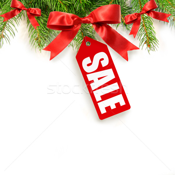 Pine branches,bows and sales tag isolated on white Stock photo © Sandralise