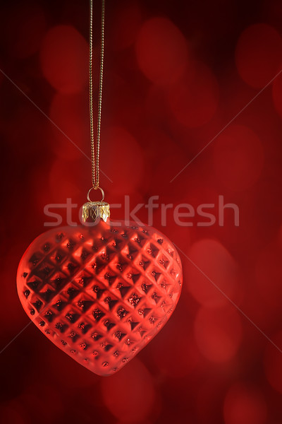 Red heart ornament hanging Stock photo © Sandralise