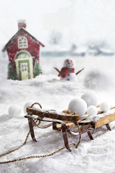 Boneco de neve madeira brinquedo retro Foto stock © Sandralise