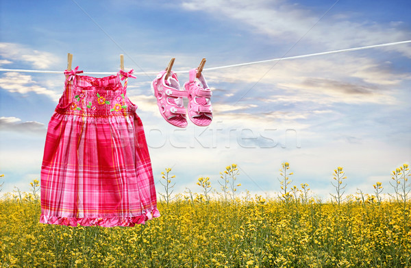 Dress and sandals on clothesline in summer Stock photo © Sandralise