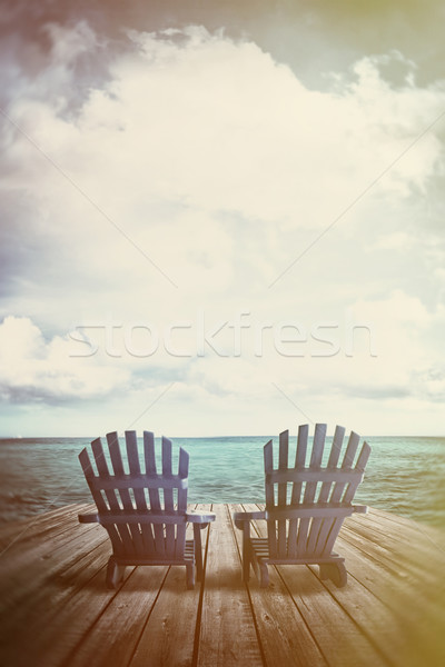 Chaises quai vintage textures bleu eau Photo stock © Sandralise