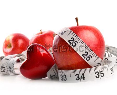 Photo stock: Rouge · pommes · mètre · à · ruban · blanche · alimentaire · santé
