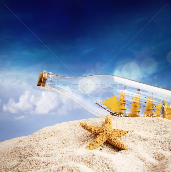 Foto stock: Navio · garrafa · praia · fundo · deserto · oceano