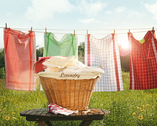Cotton towels drying on the clothesline Stock photo © Sandralise