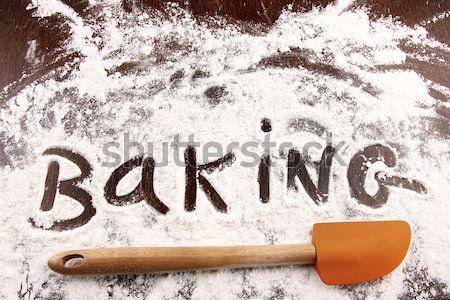 Mot recette écrit blanche farine spatule Photo stock © Sandralise