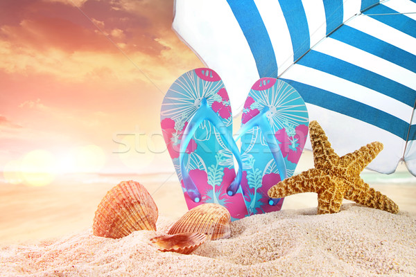 Pair of flip- flops in the sand with starfish  Stock photo © Sandralise