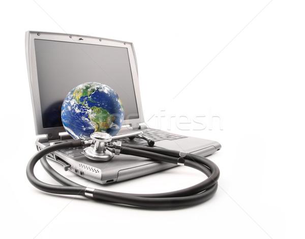 Сток-фото: стетоскоп · земле · белый · компьютер · медицинской